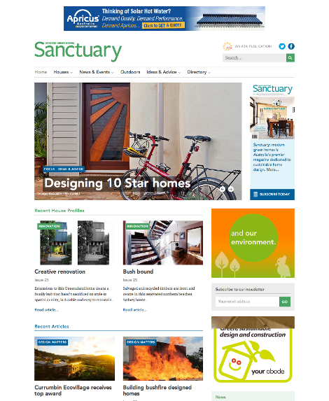 Screenshot of the home page for http://www.sanctuarymagazine.org.au