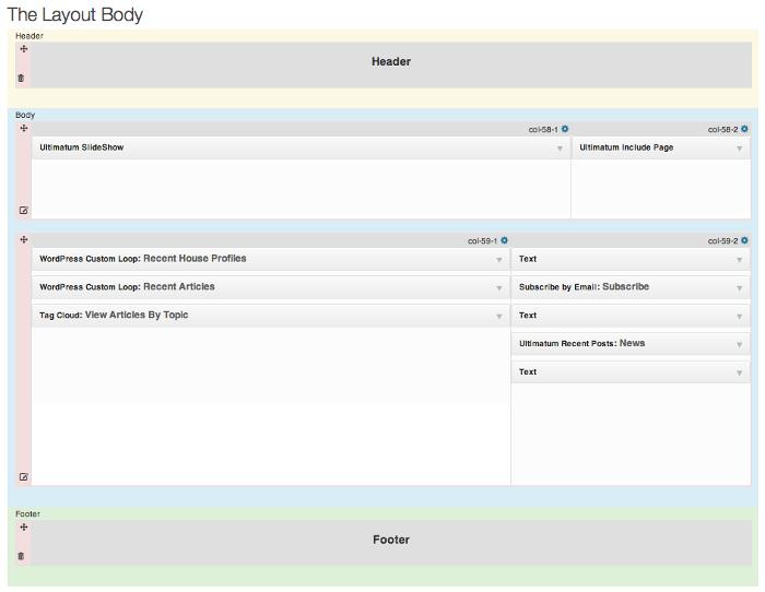 Screenshot of the Layout body editor