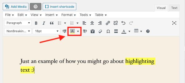 Using the TinyMCE plugin makes it easy to highlight text in WordPress