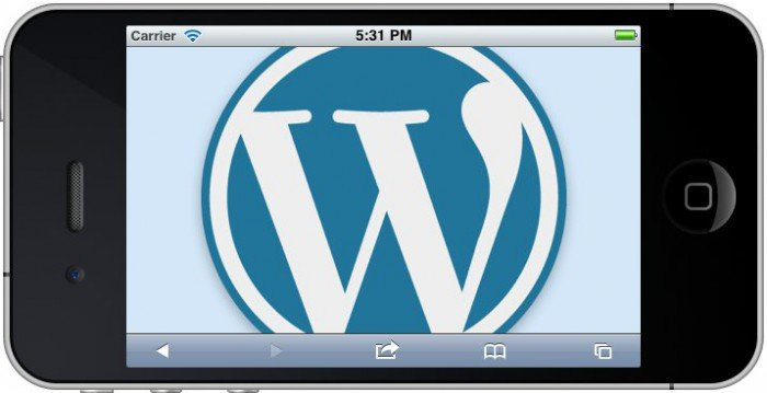 iPhone in landscape with WordPress logo