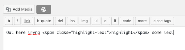 add the following code into the text editor to highlight the selected text