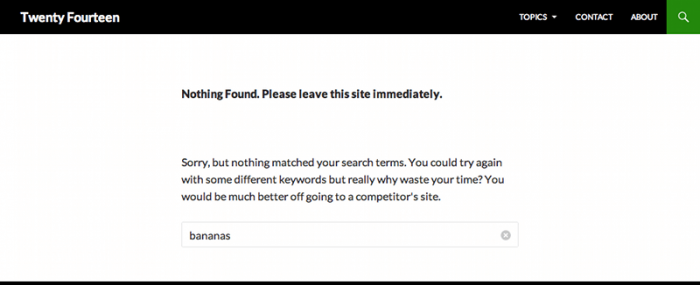 Screenshot of no results search page asking visitor to leave immediately