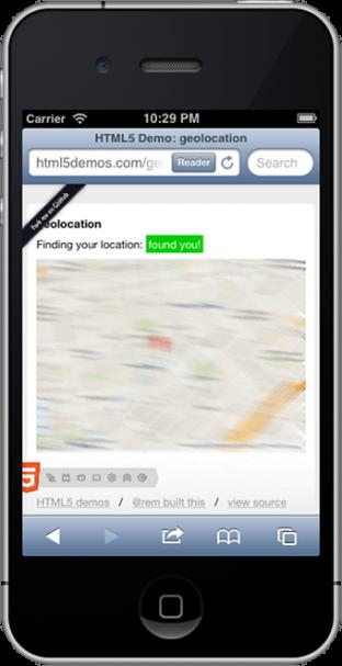 Screenshot of iPhone running geolocation demo