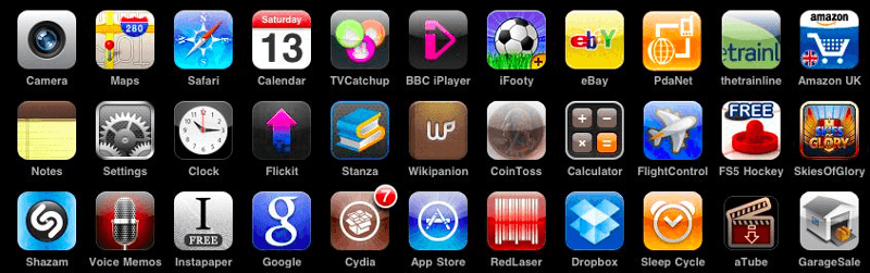 Screen grab of mobile app icons