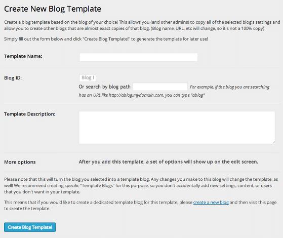 Screenshot of the New Blog Templates Edit Template screen