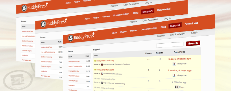 Featured image consisting of multiple screen grabs of a BuddyPress site