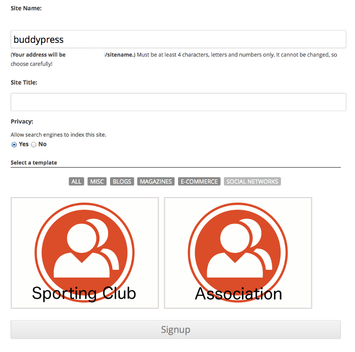 Screenshot of the New Blog templates theme selection page in the multsite sign-up process