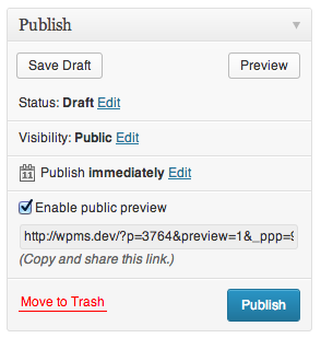 screenshot of the Publish metabox with the new Enable public preview function