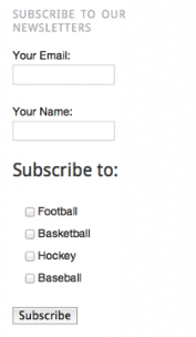 screenshot of the subscribe form