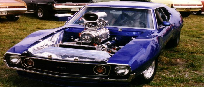 Photo of AMC Javelin customized blue hardtop with supercharged AMC V8.