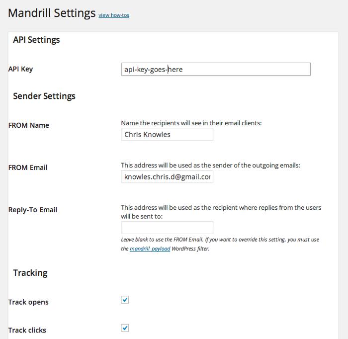 Screenshot of the Mandrill settings in WordPress