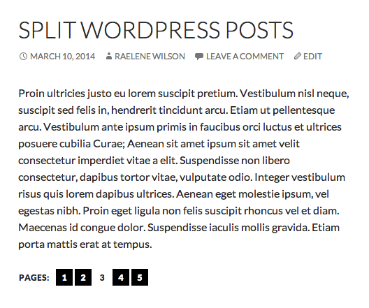 Split WordPress post