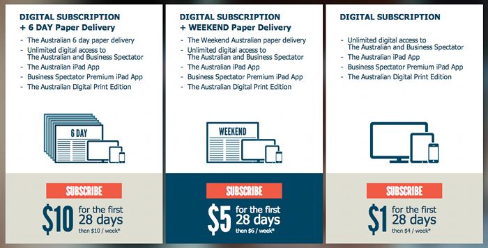 Screenshot of the Australian's subscription plans