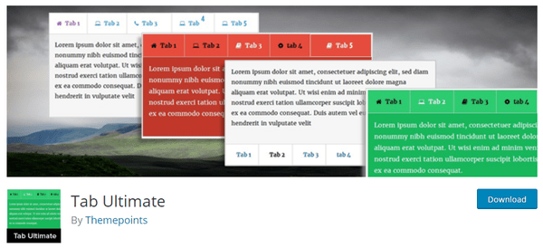 Header of Tab Ultimate from wp.org
