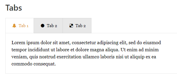 Example of a set of tabs from tab responsive