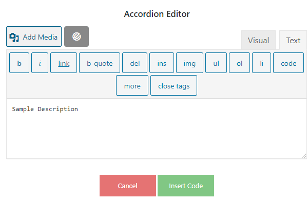 Image of the WYSIWYG editor you can use to add your content