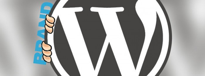 WordPress logo with the word branding trying to peek around it