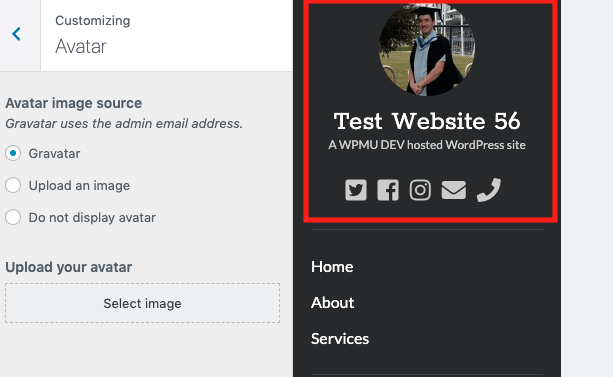 Add a gravatar and social links and give your site an author vibe