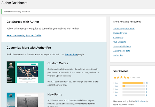 A look at this themes author dashboard
