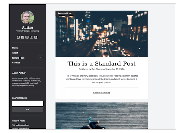 a look at the author minimalist WordPress theme