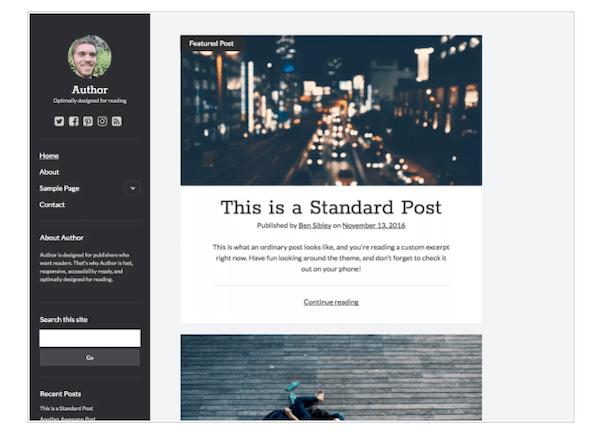 a look at the author minimalist WordPress theme