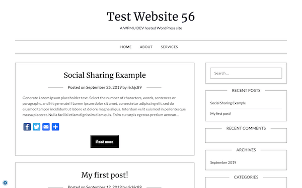 A look at my test website made with MB