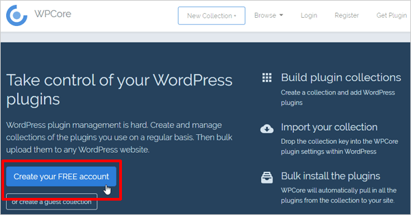 WPCore create new account