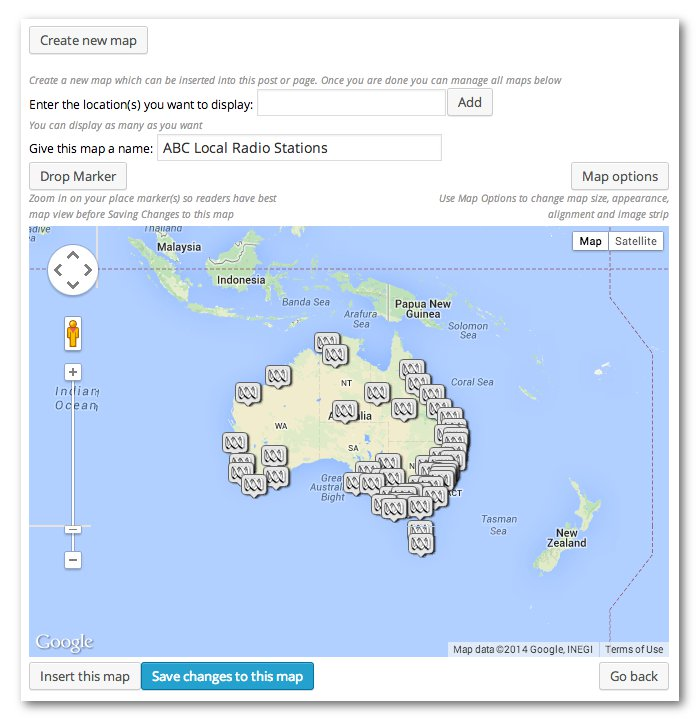 Add map dialog from Google Maps plugin showing a map of australia with pins for each local ABC radio station