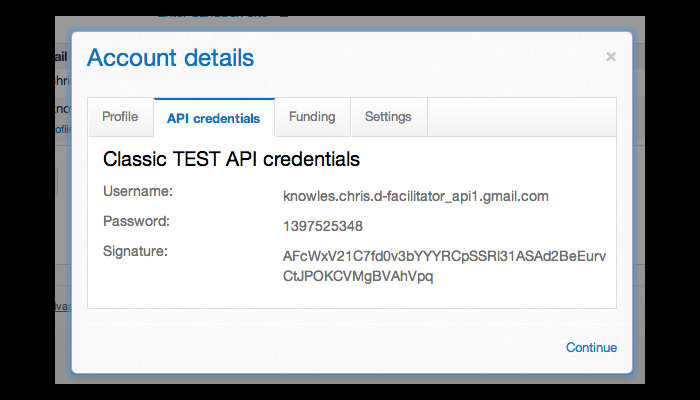 Screenshot of the API credentials