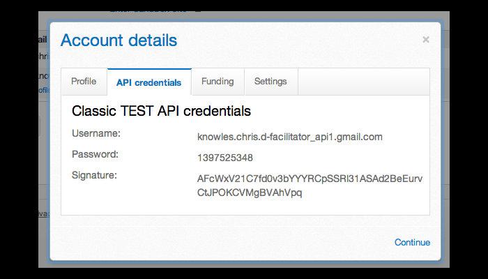 Screenshot of the API credentials