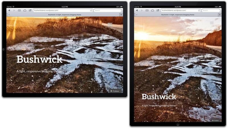 Screenshot of the Bushwick theme on a tablet in landscape and portrait mode