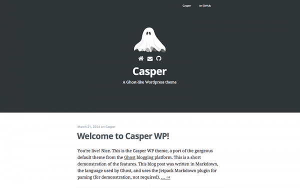 Casper Is A Simple Minimalist Theme Inspired By The Ghost Blogging Platform