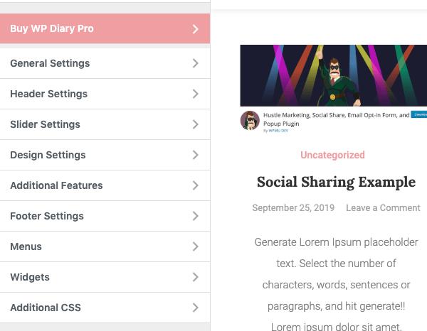 A look at the menu settings of WP Diary