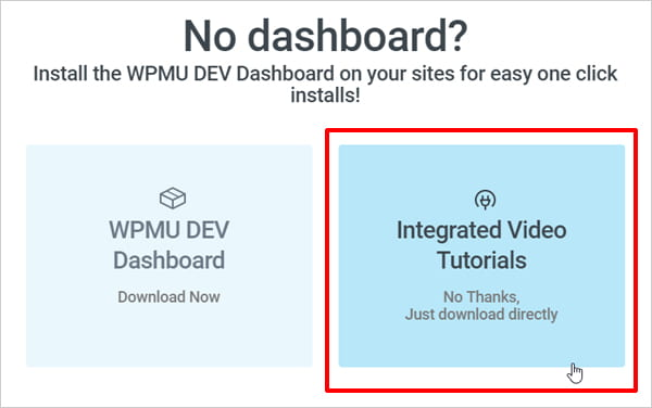 Integrated Video Tutorials plugin download option selected