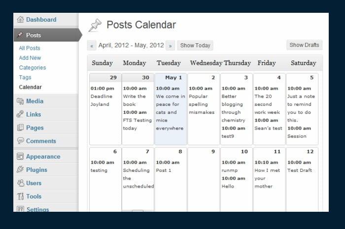 A look at the posts calendar.
