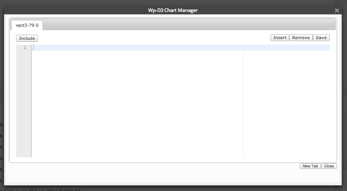 Screenshot of the WordPress-d3.js plugin pop-up dialog