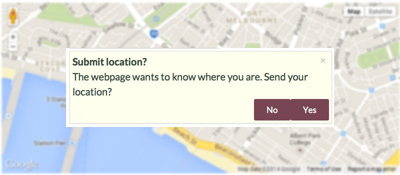 Screenshot of a blurred map and the location submission permission request