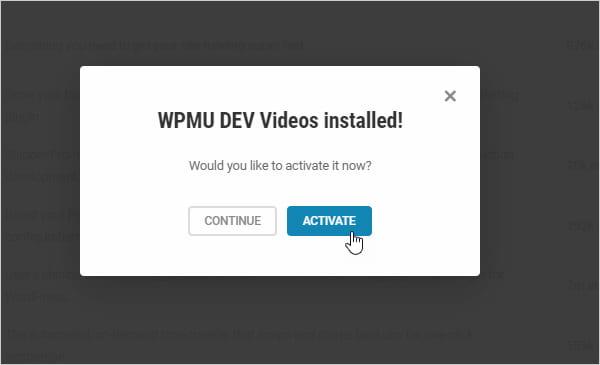 Activate videos plugin.