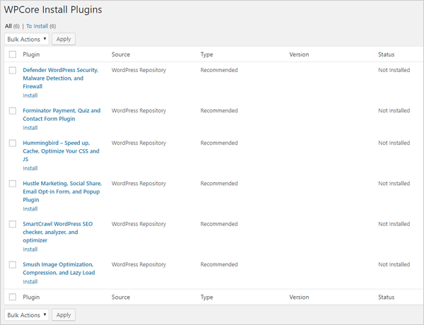 WPCore Install Plugins screen