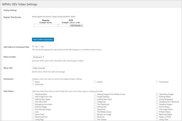 WPMU DEV Video Settings screen