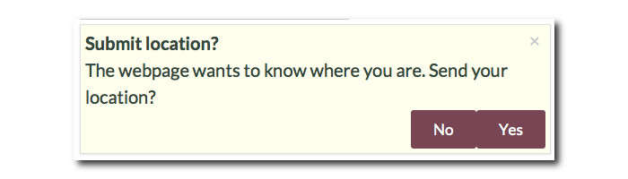 Screenshot of the dialog to ask permission for submitting the user's location