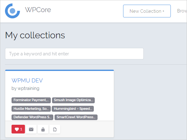 Plugin Collections screen with favorites button activate
