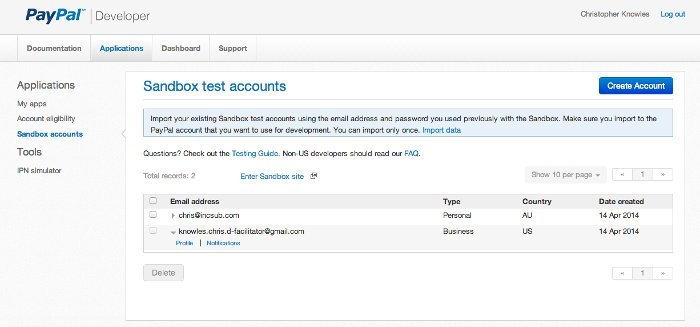 Screenshot of the Sandbox accounts screen in the the PayPal Developer Portal