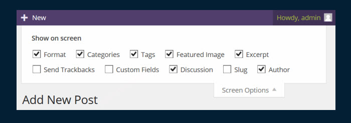 The Screen Options tab contains some important options.