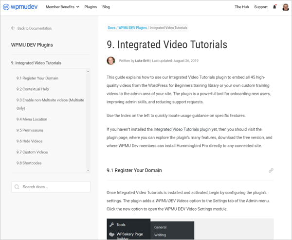 Integrated Video Tutorials documentation section