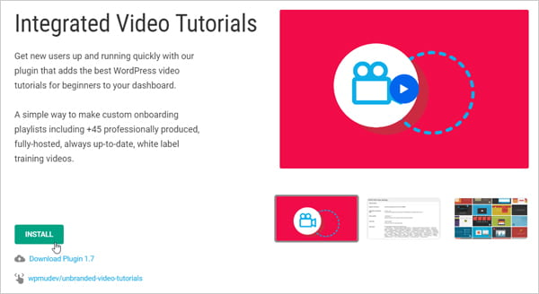 Integrated Video Tutorials plugin