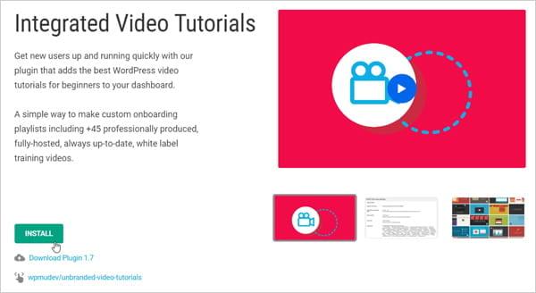 Screenshot of Integrated Video Tutorials plugin page