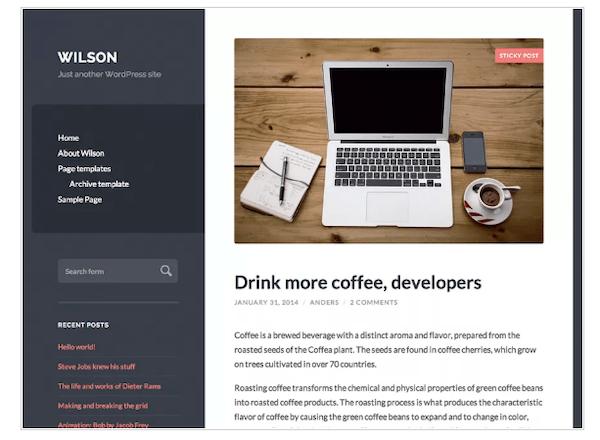 A look at the Wilson minimalist WordPress theme