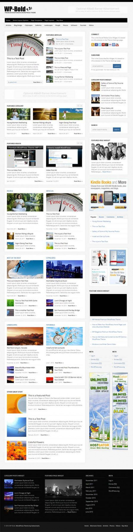 Screenshot of the entire home page of a magazine theme