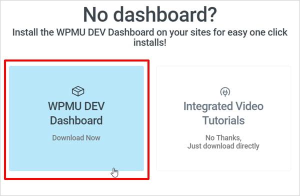 WPMU DEV Dashboard download option selected